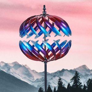Sculture di girandole da giardino a spirale colorate rotonde 3D