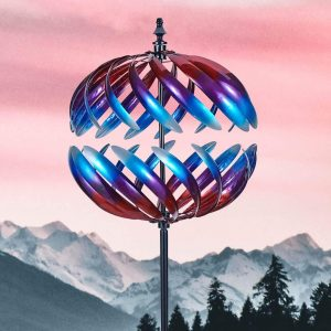 3D Runde bunte Spirale Garten Wind Spinner Skulpturen