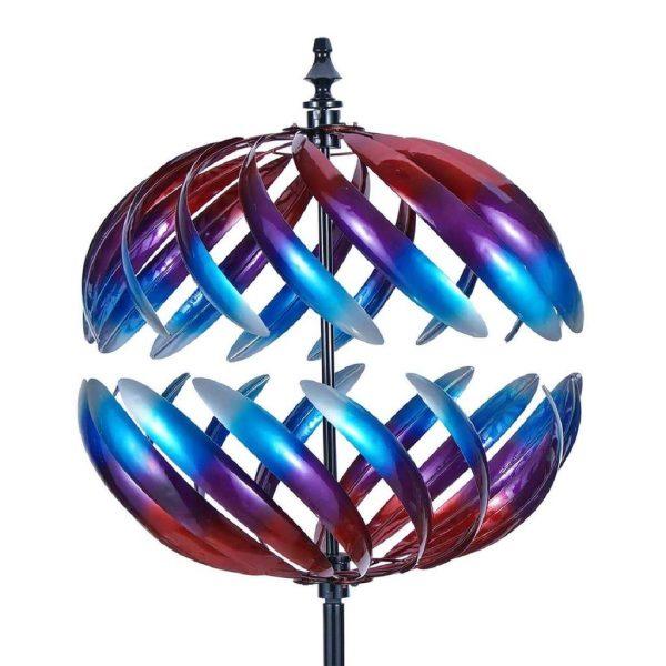 3D Round Colorful Spiral Garden Wind Spinners Sculptures