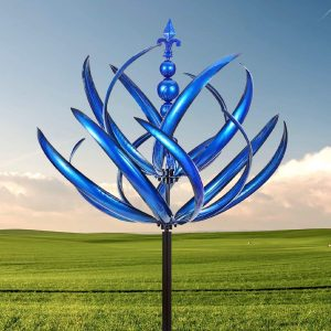 Metal Outdoor Flower Spiral Wind Spinners Ornaments Sculptures