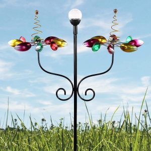 Wind Spinners With Solar Lights Garden Flower Lover Outdoor