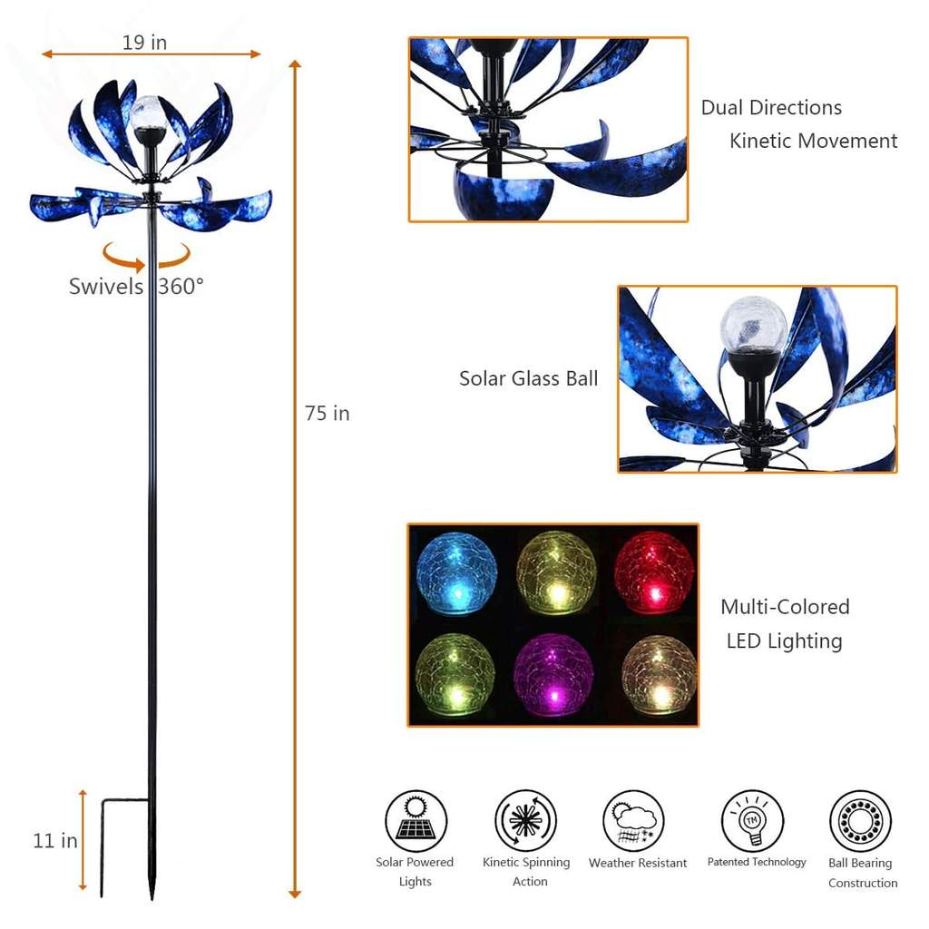 wind spinner with solar led lights