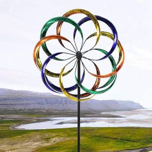Outdoor Yard Custom Rainbow Flower Wind Spinner