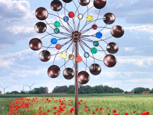 3D Round Colorful Spiral Garden Wind Spinners Sculptures